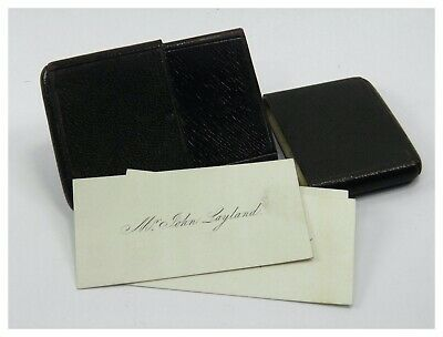 Antique 19th century Victorian black leather calling card case