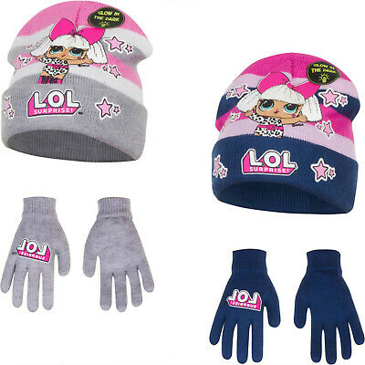 Boys Girls Kids Official LOL Surprise Glow In The Dark Winter Hat And Gloves