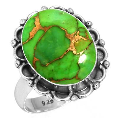 Copper Green Turquoise Ring 925 Sterling Silver Handmade Jewelry Size 8 cm59589