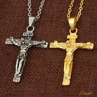 316L Stainless Steel Silver Jesus Cross Crucifix Pendant Necklace Mens & Womens