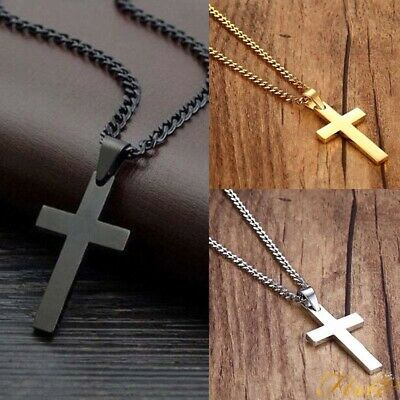 Stainless Steel Plain Silver Jesus Cross Crucifix Pendant Necklace Mens & Womens