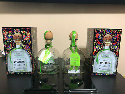2 Tin Limited Edition Boxes with Patron Silver Tequila Empty Bottles Corks Tags