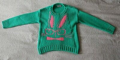 Next Girl's Green/Pink Bunny Chunky Jumper  Age 7-8 Years - Good Condition
