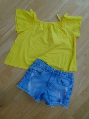 ZARA girls 2 piece blue jeans shorts & yellow t shirt top AGE 9 - 10 YEARS