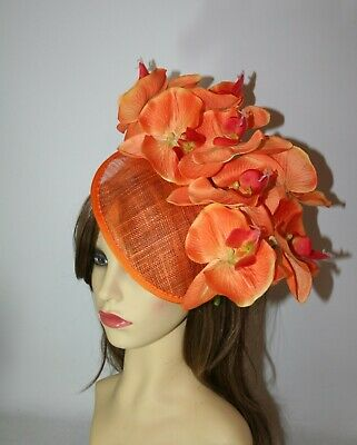 Large Orange Orchid Flower  Hat Hairband Fascinator Wedding, Races, Party.