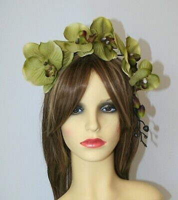 Large Sage Green Orchid Flower on Headband Fascinator Wedding, Races, Party
