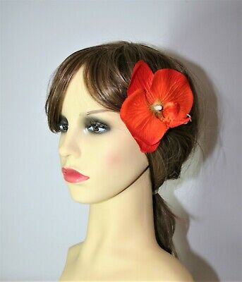 Large Orange Orchid Flower Hair Clip Fascinator - Wedding, Races, Party.