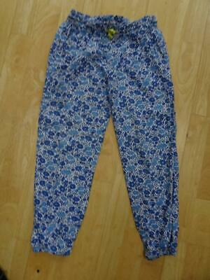 MINI BODEN girls blue floral summer trousers AGE 8 YEARS EXCELLENT COND
