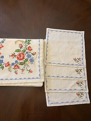 "Vintage Cross Stitch Tablecloth with 4 matching napkins, floral roses 52"" square"
