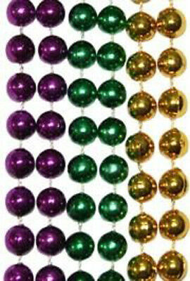 "Case (288) of Mardi Gras Throw Beads 33"" Necklace Purple Green Gold - 24 Doz"
