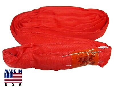 USA DOMESTIC 10' RED Endless Round Lifting Sling Crane Rigging Recovery