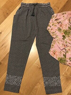 NEXT Girl's 11 Years Pink Floral Blouse Top & Lightweight Trousers