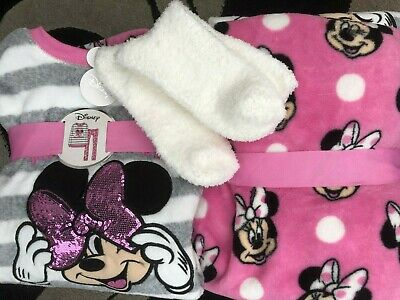 Womens Disney Minnie Mouse Fleece Primark  Ladies Girls Pyjamas & Free Socks