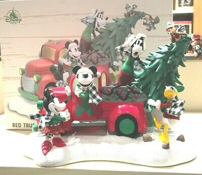 Disney Parks Yuletide Farmhouse Mickey Light-up Red Truck Holiday Figurine - New
