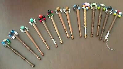 14 Dark Wooden Lacemaking Lace Bobbins With Beaded Spangles