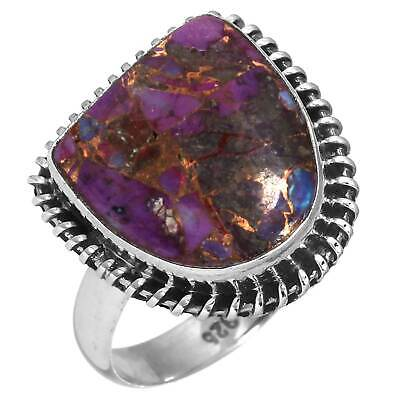 Copper Purple Turquoise 925 Sterling Silver Collectible Ring Size 9 Df23815