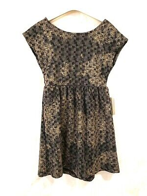 NWT Slice Dress Girls Outfit Size 6X Gray Color Black Gold Design Mid-Calf