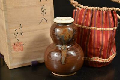 A1201: Japan Kiyomizu-ware Brown glaze TEA CADDY Chaire Container w/signed box