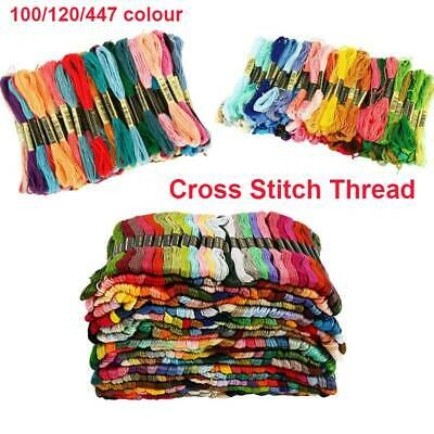 Embroidery Thread Floss 100/120/447 Kit Cross Stitch Cotton Sewing Skeins Colors