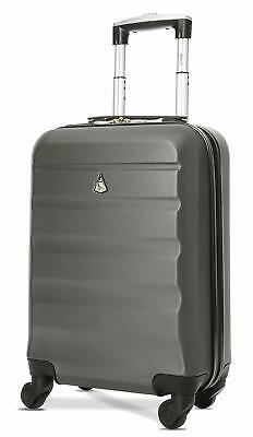 Aerolite Lightweight ABS Hard Shell Carry On Hand  Luggage Suitcase - charcoal