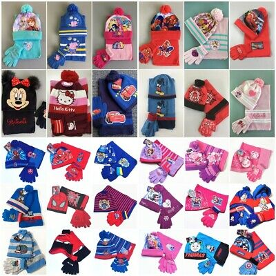 Kids Childrens Boys Girls Spiderman Cars Princess Hat Scarf and Gloves 3Pcs Set