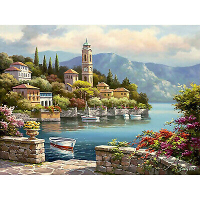 Popular ! Home Decor Canvas Paint By Numbers Kit Art Oil Painting DIY Warm Sea