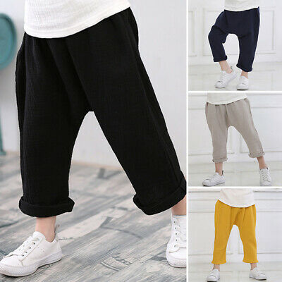 Kids Boys Girls Long Pants Harem Yoga Dance Trousers Joggers Bottoms Sweatpants