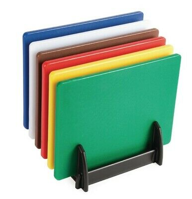 Chopping Board Full Set Of 6 Colour Coded Boards With Rack Stand Multi Six Pack