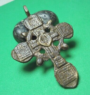 Ancient Bronze Cross Wearable Pendant Antique Rare C200