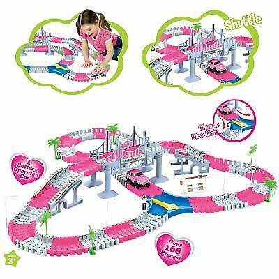 Children Pink Girls Track Set 168Pc Lights Battery Operated Flexible Racing Toy