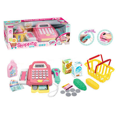 Supermarket Till Kids Cash Register Toy Gift Set Child Girl Shop Role Play Pink