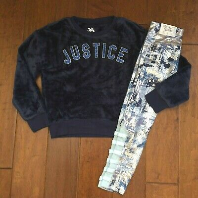 Nwt Justice Girls Size 8 Outfit ~Navy Teddy Bear Sweatshirt / Blue Camo Leggings