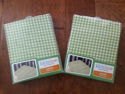 New Lot of 2 Green Gingham Check Crib Fitted Sheet 100% Cotton
