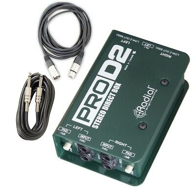 Radial Engineering ProD2 Passive Stereo Direct Box Pro D2 w/ 2 Cables
