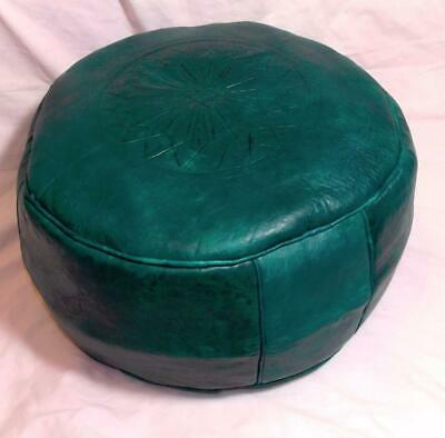 Fair Trade Green Leather Pouffe Footstool New Handmade From Marrakesh Morocco