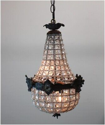 Crystal Chandelier Antique Style with Victorian Faces Aged Brass 18 inch Tall