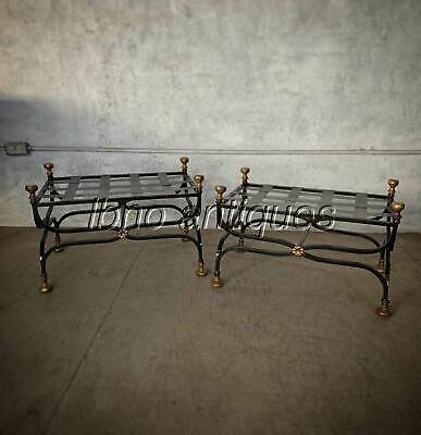 EARLY 1900's PAIR OF NEOCLASSICAL WROUGHT IRON AND BRONZE STOOLS. MUST SEE. L@@k