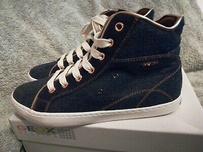Girls Junior Geox Hi Tops Denim And Rose Gold Trainers size 1.5 new.