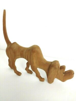 Hand Carved Wooden Bloodhound Dog Tail Up Sculpture 5""