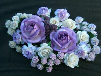 55 paper ROSES Lilac & Ivory ROXLI:: Wedding Floral Table Cake Hair Decorations