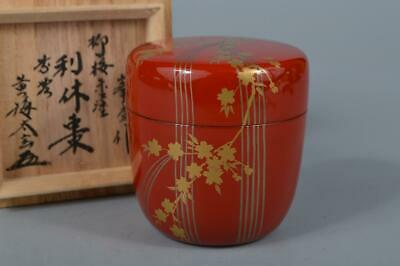 M1937: Japanese XF Wooden Lacquer ware TEA CADDY Natsume Chaire w/signed box