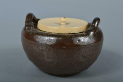 M750: Japanese XF Old Seto-ware Brown glaze TEA CADDY with High class lid