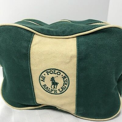 Polo Ralph Lauren Mens Travel Bag Toiletry Dopp Shaving Kit Canvas Zip Vintage