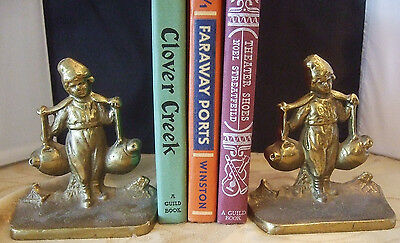 "RARE Antique/Vintage Dutch Boy Solid Bronze Brass Bookends Circa 1925 5.5"" Tall"