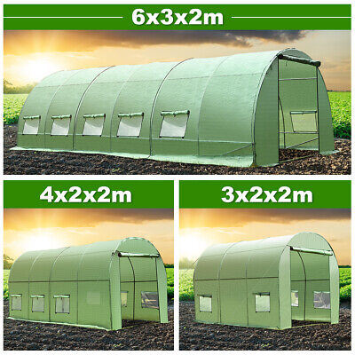 Steel Frame Garden Greenhouse Walk-in Grow Green Polytunnel Planting Kit Anti-UV