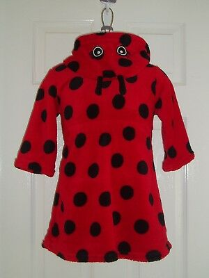 GIRLS ROBE/HOUSECOAT HOODED - LADYBIRD DESIGN RED & BLACK - GEORGE - AGE 2-3yrs