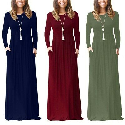 UK Women's Full sleeve Loose Plain Evening Party Long Dress Maxi with Pockets