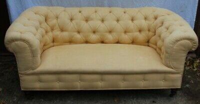 1900s Early 3 Seater Mahogany Chesterfield Sofa in Pale Yellow Upholstery.