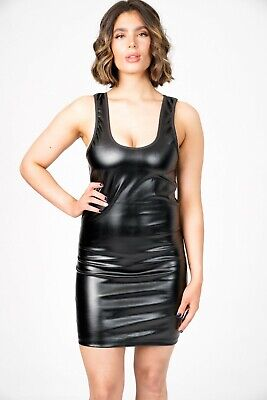 PVC Wet Look Dress Mini Goth Scoop Neck Black Stretchy Women's Body Con Fitted