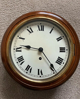 "Antique School Clock - Mahogany surround and brass bezel with 8"" clock dial."